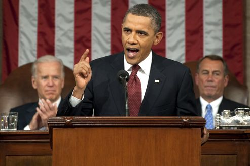U.S. President Obama delivers his State of the Union address to a joint session of Congress on Capitol Hill in Washington